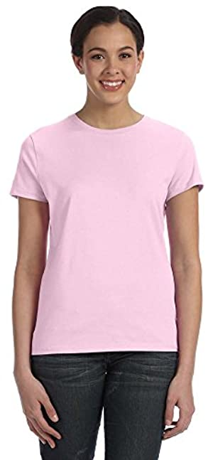 Hanes Ladies 4.5 oz., 100% Ringspun Cotton nano-T T-Shirt, Large, PALE PINK