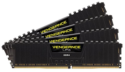 Corsair CMK64GX4M4C3200C16 Vengeance LPX 64GB (4x16GB) DDR4 3200 (PC4-25600) C16 1.35V Desktop Memory Black (Color: Black, Tamaño: 64GB Kit (4 x 16GB))