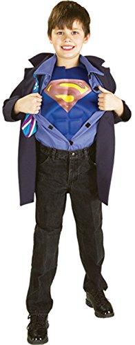 [Boys Clark Kent Superman Reverse Kids Child Fancy Dress Party Halloween Costume, S (4-6)] (Superman Clark Kent Halloween Costume)