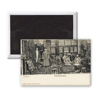 'Carpet Sellers - Constantinople, Turkey' - 3x2 inch Fridge Magnet - large magnetic button - Magnet