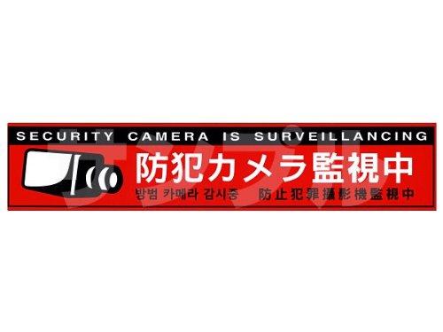 多言語対応・防犯ステッカー(防犯カメラ監視中[赤])  【CT-A051】