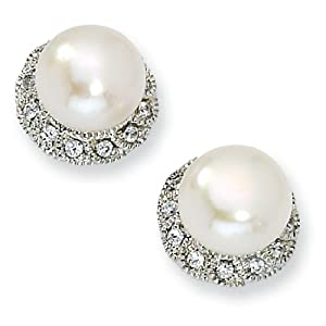 Sterling Silver CZ White Cultured Pearl Stud Earrings