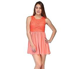 poly chiffon dress with lace