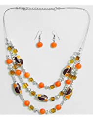 Three Layer Dark Saffron And Golden Yellow Bead Necklace With Earrings - Wood And Acrylic Bead