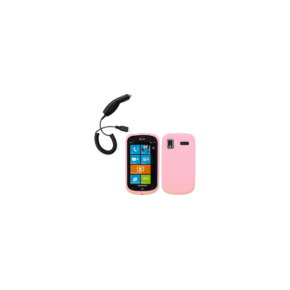 Light Pink Silicone Skin / Case / Cover & Car Charger for Samsung Focus / SGH I917 Cell Phones & Accessories
