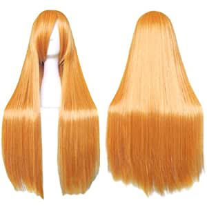 [Cosplay wig] Matt Orange Long Straight 80cm Neon Genesis Evangelion Asuka Langley BLEACH Inoue Orihime CaseEden original 4-piece set (+ stand + wig hair net two) Heat high quality genuine CaseEden (japan import)