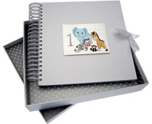 White Cotton Cards Safari Animals Age 1 Card and Memory Book, Code SAF10 from white cotton cards