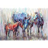3 Horse 1 By Art Atelier Alliance Art Print On Canvas 36x25 Inches