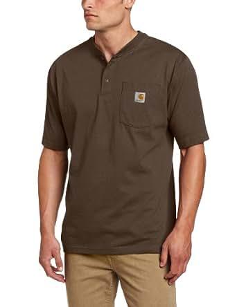 Carhartt Men's Big & Tall Workwear Pocket Short Sleeve Henley Original Fit K84,Dark Brown,Large Tall