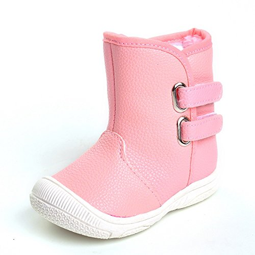 Toddler Girls' Rubber Sole Winter Snow Boots Pink US 4