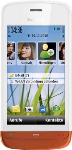 Nokia C5-03 Smartphone (8,1cm (3,2 Zoll) Touchscreen, 3,5mm Klinkenbuchse, Ovi Karten, GPS) weiß/burned orange