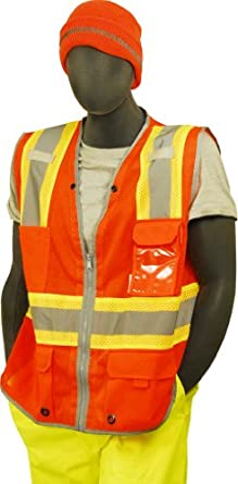 Majestic Glove 75-3226 High Visibility Mesh Vest with D-ring Pass Thru, Large, Orange