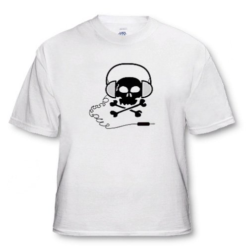 Florene Humor - Skull And Bones With Headphones - T-Shirts - White Infant Lap-Shoulder Tee (12M)