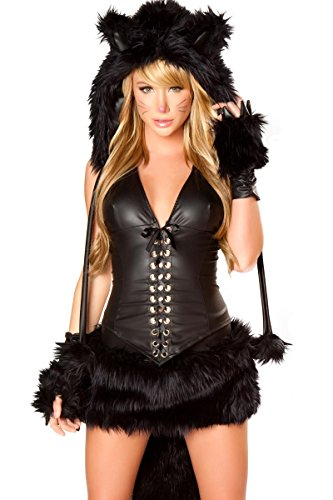 J. Valentine Women's Sexy Black Cat Costume 7 Piece Complete Set Hottest Animal