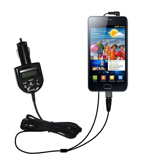 Unique Gomadic FM Transmitter with an integrated DC Auto Charger for the Samsung Galaxy S II - Listen to music from the Galaxy S II on the FM Radio