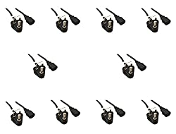 (10 Pack) 1.5m Storite IEC Mains Power Cable India Plug Lead Cord For Kettle Pc Monitor and Printer - Black