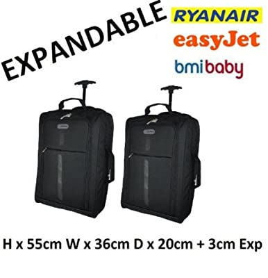 Set of 2 Expandable Super Lightweight Cabin Approved Wheeled Bags Hand Luggage Travel Holdall Baggage Wheely Suitcase Cabin Approved Bag Ryanair, Easyjet and Many More - 1.6k - 40 Litres - PADLOCK INCLUDED