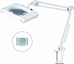 """Ultra-Efficient 108 LED Magnifier Lamp - Large 7"""" x 6"""" Lens 5-Diopter"""