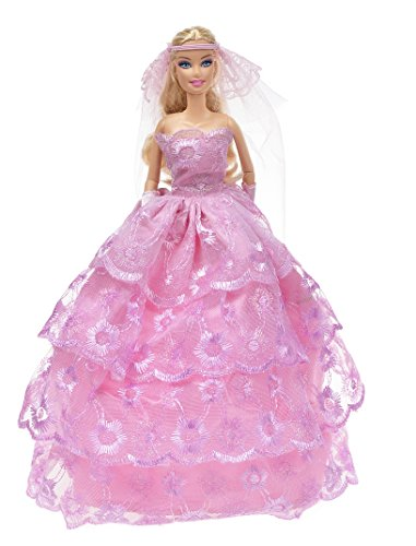 Banana Kong Doll's Strapless Wedding/Party Dress Gown+Glove+Veil Set