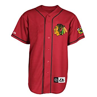 NHL Chicago Blackhawks Replica Jersey Red Black Replica Jersey, Red Black by Majestic
