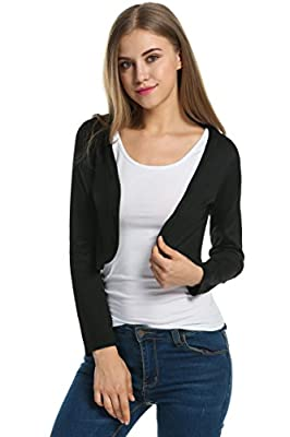 Meaneor Women Basic Versatile Long Sleeve Knit Solid Bolero Shrug Crop Cardigan
