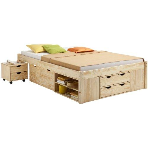 Cadres de lit lit avec rangements sabrina pin vernis - Cadre de lit avec rangement x ...