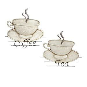 Tea and coffee cup and saucer bronze coloured metal wall for Tea and coffee wall art