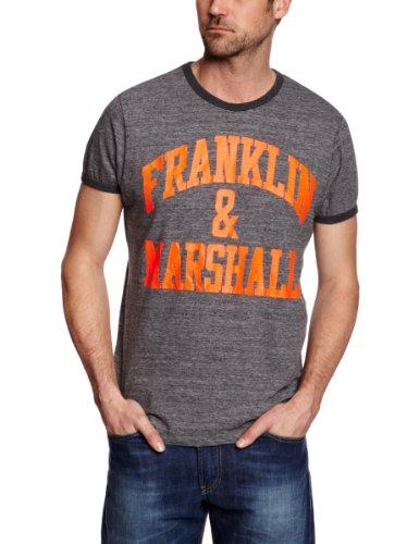 Franklin & Marshall TSMR774S13 Logo Men's T-Shirt Black Melange Large