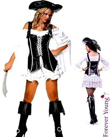 4 Piece Pirate Ladies Fancy Dress Costume