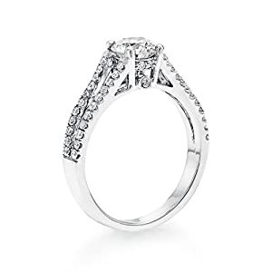 Certified, Round Cut, Solitaire Diamond Ring in 18K Gold / White (1 ct, G Color, VS1 Clarity)