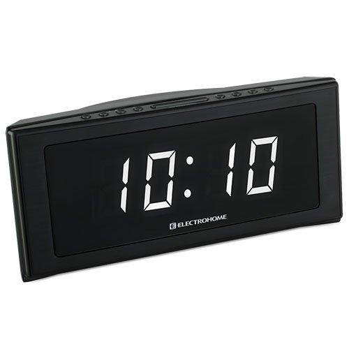 electrohome 1 8 jumbo led alarm clock radio with battery backup auto time set digital am fm. Black Bedroom Furniture Sets. Home Design Ideas
