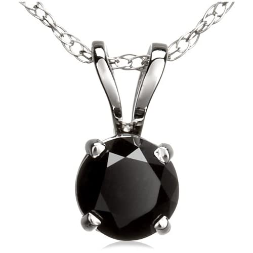 14k White Gold Black Diamond Rabbit Bale Pendant