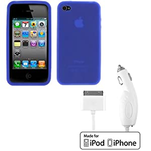 EZOPower Rapid White Car Charger + Blue Soft Rubber Silicone Skin Cover Case for Apple iPhone 4 4G 16GB / 32GB 4th Generation