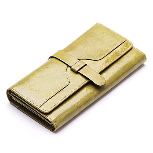 Minetom Donne Elegante Polyurethane PU Leather Portafoglio Lungo TitolareDellaCartaPochettePortafoglioBorsa Multifunzionale Borsetta Sacchetto Del Partito (Verde)