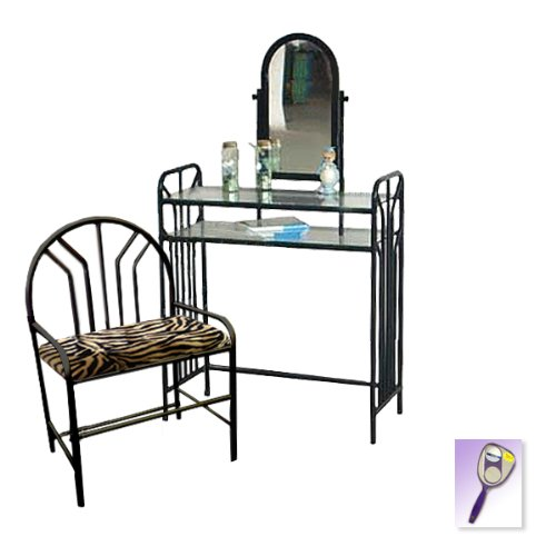 New Black Metal Finish Make Up Vanity Table with Mirror & Brown & Black Zebra Faux Fur Themed Bench