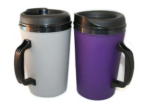2 Thermoserv Foam Insulated Coffee Mugs 34 Oz (1) Purple & (1) Silver