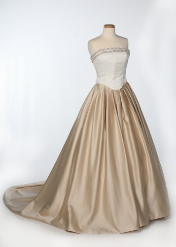 Ivory and Champagne Satin Wedding Gown
