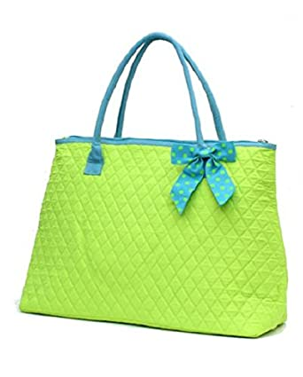 Lar Lar Quilted Solid Extra Large Tote Bag (Lime/Blue)