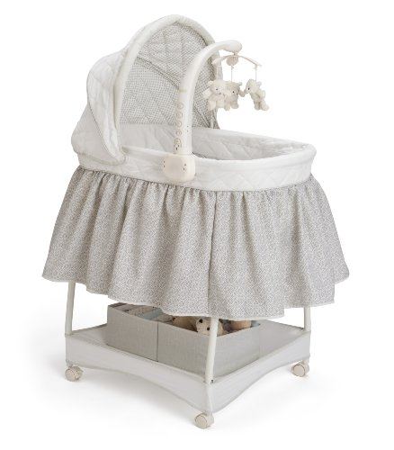 Delta Children Smooth Glide Bassinet, Silver Linings