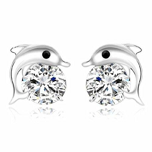 """Winter's Secret """"Dolphin Bay of Love"""" AAA Austrian Zircon Fashion Stud Earring"""
