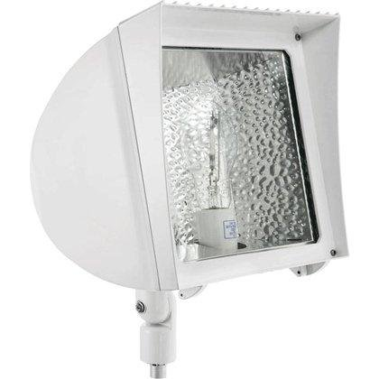 Rab Lighting Fxh150Qtw Metal Halide Flex Floodlight With Heavy Duty Swivel Arm, Ed17 Type, Aluminum, 150W Power, 12500 Lumens, 277V, White