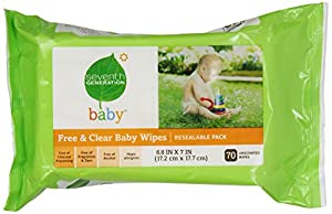 Seventh Generation Original Soft and Gentle Free & Clear Baby Wipes, 70 Count (Pack of 5)