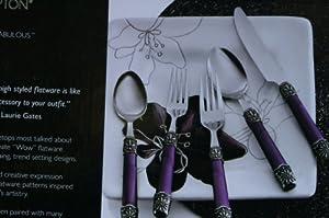 Laurie Gates By Hampton SIZZLE 40 Piece Flatware Set, Service for Eight - Purple