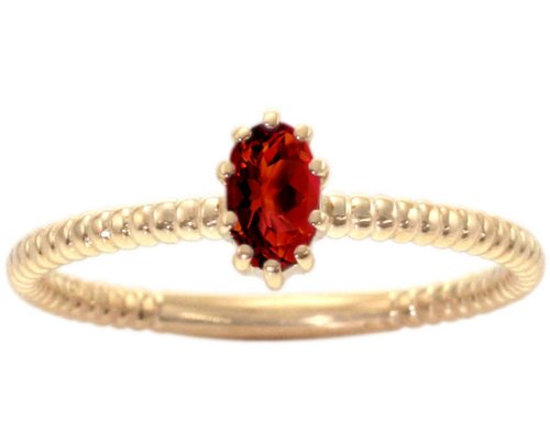 14K Yellow Gold Petite Oval Gemstone Solitaire Stackable Ring-Garnet, size6