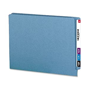 Smead 100% Recycled End Tab Fastener File Folder, Shelf-Master® Reinforced Straight-Cut Tab, 2 Fasteners, Letter Size, Blue, 50 per Box (34170)