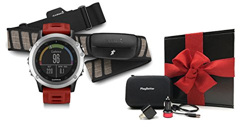 Garmin fenix 3 (Red) Performer Bundle Ultimate Gift Box (with Chest Strap HRM) | Includes Multi Sport GPS Fitness Watch, Chest HRM, PlayBetter USB Car/Wall Adapter, Hard Case Black, Gift Box