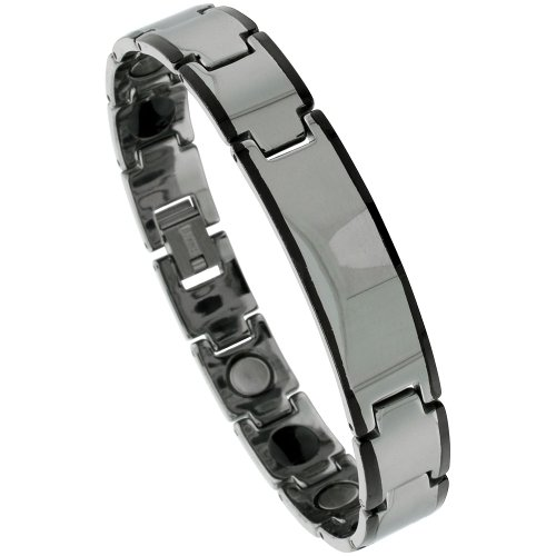 Sabrina Silver Tungsten Gun Metal Magnetic ID Bar Bracelet w/ Black Edges, 7/16 in. (11mm) wide (BTN148)