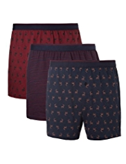 3 Pack Cool & Fresh™ Pure Cotton Reindeer Boxers with StayNEW™
