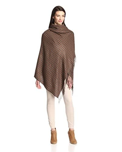 Alicia Adams Women's Wool Wrap, Charcoal/Cognac