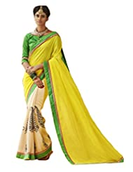 Status Yellow & Off White Color Printed Saree On Bhagalpuri Silk Fabric. - B00O28PFT2